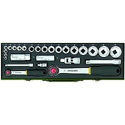 Proxxon 23020 Steckschlüsselsatz 1/2 Zoll + 1/4 Zoll, 27-teilig