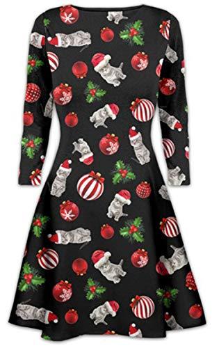 02703592688db Womens Girls Santa Reindeer Wall Snowflake Ladies Costume Christmas Xmas  Swing Dress Size 8-26