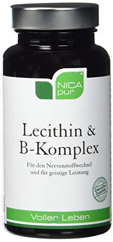 NICApur Lecithin & B-Komplex I mit den Vitaminen B1, B2, B6, B12, Niacin, Pantothensäure, Folsäure und Biotin I zur Unterstützung des Nervensystems I Reinsubstanz ohne Zusatzstoffe I 60 Kapseln