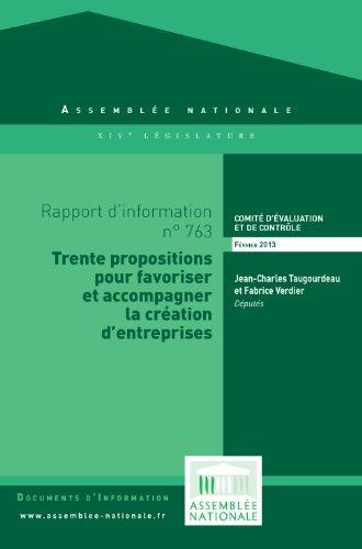 Couverture du livre Rapport d'information sur l'évaluation des dispositifs publics d'aide à la création d'entreprises
