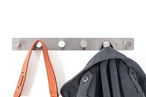 Malin-System - Premium Wandgarderobe (inkl. Schrauben und Dübel) - Hakenleiste aus rosfreiem Stahl - hochwertige Garderobenhaken mit 6 abgerundeten Haken - Wandhaken geeignet als Garderobe