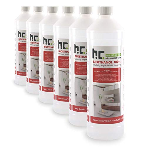 Höfer Chemie 6 L Bioethanol 100{ab39ec7bac0caa0722fb2607716ebc841eb772e16c5812f76d0b42476fc38288} Premium (6 x 1 L) für Ethanol Kamin, Ethanol Feuerstelle, Ethanol Tischfeuer und Bioethanol Kamin