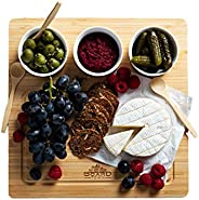 Boardtown Bamboo Wood Chef Selected Cheese Board Charcuterie Board Antipasti Platter with 3 Ceramic Bowls and