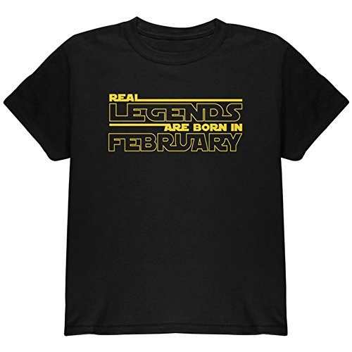 Old Glory Echte Legenden Sind IM Februar Geboren Jugend T-Shirt Schwarz YSM (Jugend-legende)