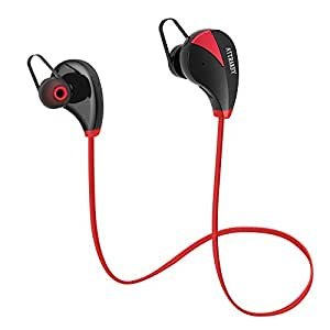 Cuffie Bluetooth, ATTRAKEY S350 Wireless In-Ear Auricolari Sport sweatproof auricolari cancellazione del rumore cuffie con microfono per Running, Jogging rosso Red