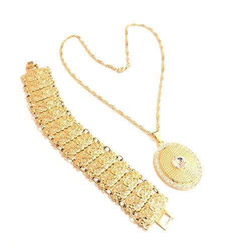 Ablamshop/Örgülü Taki Set Gold Set 22 Karat vergoldet Kette Armreifen Halskette 22 Karat Altin Kaplama Kolye Taki Gelin Set Altin Kaplama Hasir Bilezik Kolye