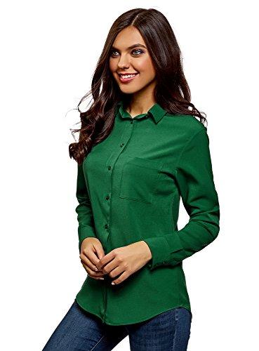 Oodji Ultra Mujer Blusa Recta Bolsillo Pecho, Verde
