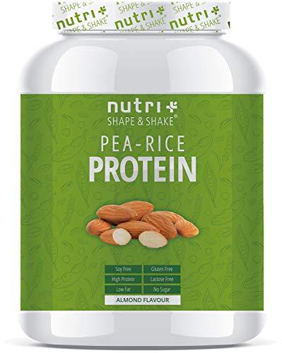 PROTEIN PULVER Erbse-Reis - Mandel 1kg - Veganer Proteinshake ohne Soja, Zucker, Laktose - 78% Eiweiß - Pflanzenprotein Duo Complex - Vegan - Hergestellt in Deutschland