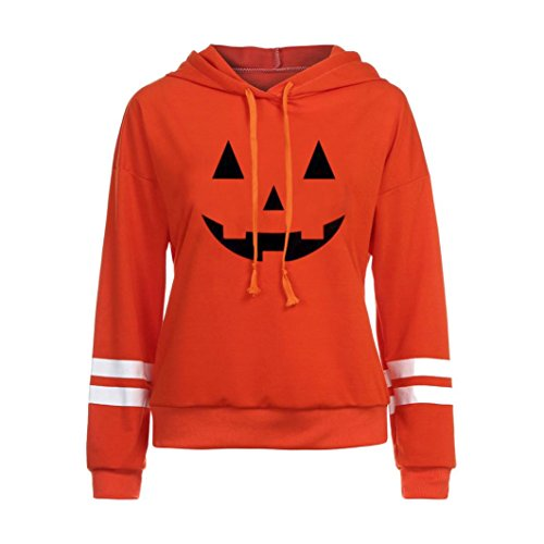 WOCACHI Damen Halloween Kapuzenpullover Mode Frauen Langarm Kürbisgrimasse gedrucktes Causal Orange Sweatshirt Hoodies Pullover Tops Bluse (S/34, Orange-02)