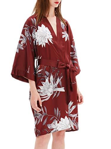 Prettystern Damen Kurz Knie-lang glänzend Satin Kimono Morgenmantel Robe Floral Burgund-Rot ()
