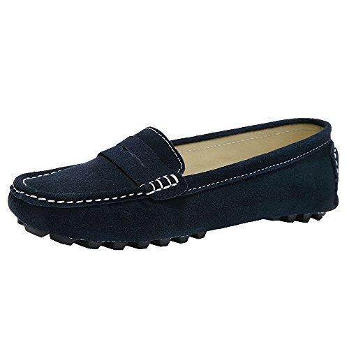 Schuhe Flache Ganzen Frauen (YY-Rui Damen Mokassins Slipper Slip-On Wildleder Bequem Schuhe Halbschuhe Freizeit Blau, DE 40)