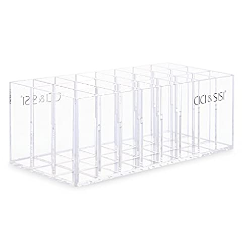 CICI&SISI Lip Gloss Holder, Make Up Organiser, Lipstick Lip Glosses Holder Acrylic Storage 24 Space (Transparent )