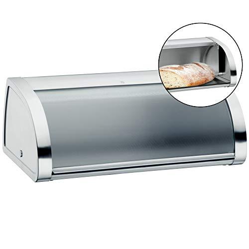 WMF Gourmet Brotkasten 45 x 28 x 18 cm, Brotbox mit Klappdeckel aus Glas, Brotdose, Cromargan Edelstahl mattiert