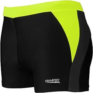 Aqua Speed® Dario Herren Badehose | Schwimmhose | S-XXXL | Modern | Vita Gewebe UV-Schutz | Chlor resistent | Kordelzug | Muskelkontrolle, Größe:S, Farbe:Black/Grey/Fluo Yellow