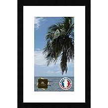 Marco de fotos con paspartú Super White Marco de foto de la pared para obtener una imagen 22x40 / 22 x 40 cm marco de la foto Negro, 3 cm de ancho, Marco de madera de fotos