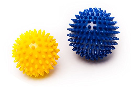 41RKznVX3tL - BEST BUY #1 Spiky Massage Balls Set, Yoga Pilates Roller for Fitness Sport Exercise ( Blue + Yellow ) Reviews and price compare uk