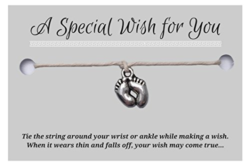 Baby Feet Beige Wish Bracelet – Hemp with Silver Tone Charm on Printed Card – Adjustable – Unisex