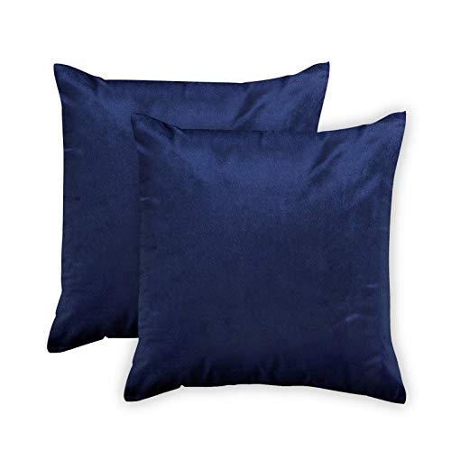 Encasa Homes Kissenbezüge aus Samt - 2er-Set (50 x 50 cm) - Navy blau - Uni gefärbt, weich & glatt, waschbar, quadratisch, großer Wurfkissenbezug für Couch, Sofa, Stuhl, Bett und Wohnbereich