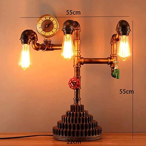 WHKFD Tischlampe mit Lösung, Retro Creative Desk Lamp, Analoger Druckmesser