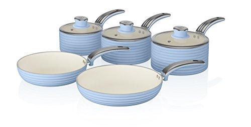 Swan Retro 5-Piece Pan Set with Ceramic Ivory Non-Stick Coating, Blue