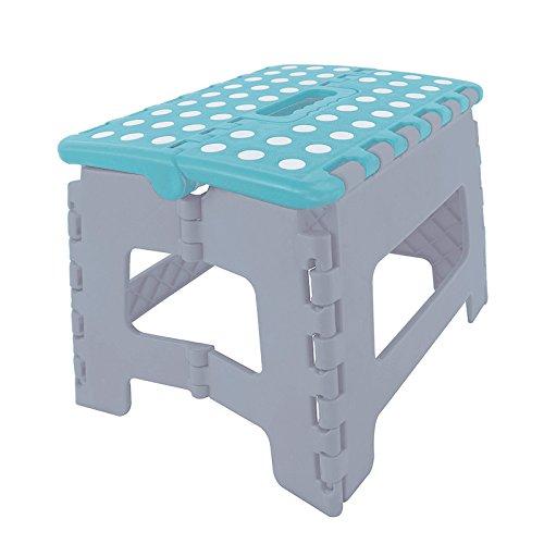 (289) Klapphocker platzsparend faltbar Fußbank Kinderhocker in grau / türkis (Faltbare Sitzbank Tisch)