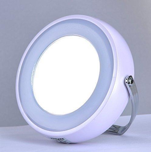 Touch beauty - Miroir double 7cm LED pour maquillage - Blanc perle (1 côté normal, 1 côté magnifiant x5)