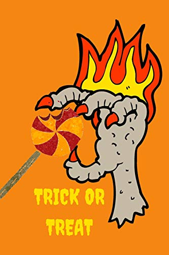 loween Spooky Claws Hand On Fire with Lolipop Themed Notebook ()