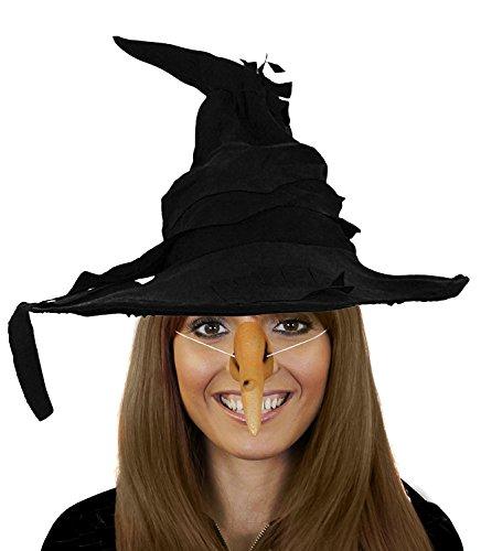 ILOVEFANCYDRESS KOSTÜM ZUBEHÖR FÜR HEXEN +ZAUBERIN VERKLEIDUNG= Fasching +Halloween = SCHWARZEN ZAUBER Hut + Gummi HEXNNASE MIT WARZEN ZUM UMBINDEN (Smaragd Märchen Kostüm)