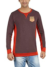 Indian Polo Men's Cotton T-Shirt (DTS129--L, Brown and Red, Large)