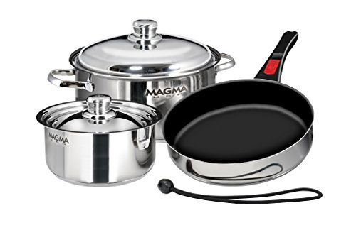 Magma Products, A10-363-2, Gourmet Nesting 7-Piece Stainless Steel Cookware Set with Ceramica Non-Stick