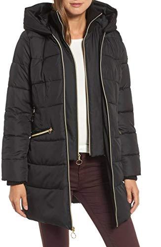 kensie Womens Full Zip Hooded Quilted Parka Coat Black XS -