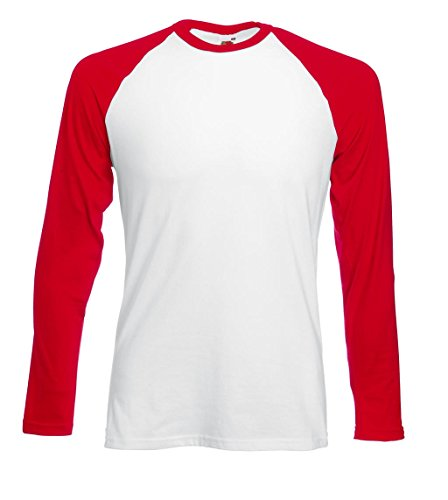 Fruit of the Loom Herren Langarmshirt Baseball Longsleeve T White/Red