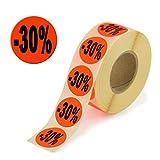 1.000 Aktionsetiketten - 30% rund leuchtrot auf Rolle 32 mm - Sonderpreis, reduziert Aufkleber, selbstklebend, permanente Preisschilder [H-30]