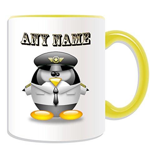 Aviator Girl Kostüm - Personalisiertes Geschenk-Pilot in weiß Becher (Pinguin in Kostüm Design Thema, Farbe Optionen)-alle Nachricht/Name auf Ihre einzigartige-Aviator Uniform Flugzeuge, keramik, gelb