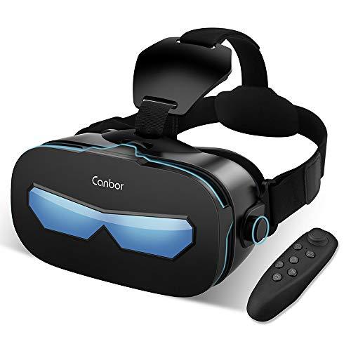 VR Brille, Canbor 3D VR Virtual Reality Headset, FOV 120° mit Fernbedienung für 3D Filme und Spiele, Kompatibel mit iPhone, Samsung Sony und Android Handy mit 4.0-6.3 Zoll