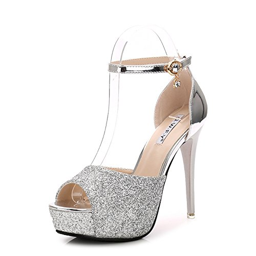 XiaoGao 12cm high heels sandaletten, gold, silber, pailletten, high heels,die silbernen (Silber High Heels Für Mädchen)