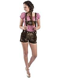 Damen Trachtenlederhose kurz - Trachten Lederhose Damen braun - Trachtenhose Hotpants - Lederhose Jugendstil