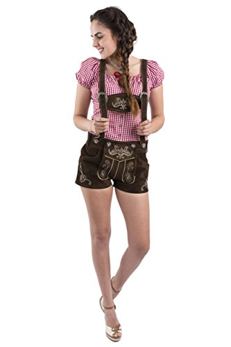 Damen Jugendstil Lederhosen Trachtenlederhose kurz Trachten braun Trachtenhose Hotpants Hose (Dunkelbraun)