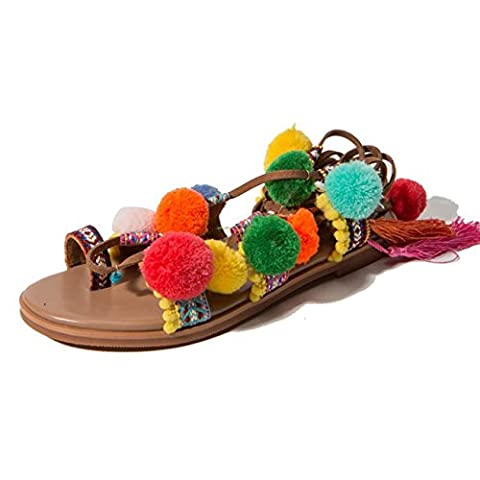 FARALY Été Nouveau style national Bohemian Tassel Hair Ball Sandal Flat Chaussures romaines , picture color ,
