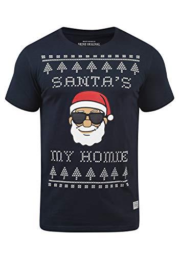 SHINE Original Santana Herren T-Shirt Weihnachts-Shirt Fun Shirt Mit Rundhalsausschnitt, Größe:L, Farbe:Dark Blue