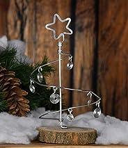 Alberello di Natale stilizzato, fatto a mano in alluminio con 7 palline stilizzate e base in legno.Leggero,dim