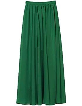 SUNNOW Mujeres coreanas gasa plisada retro Maxi falda larga Elastic WaistBand Dance Dress
