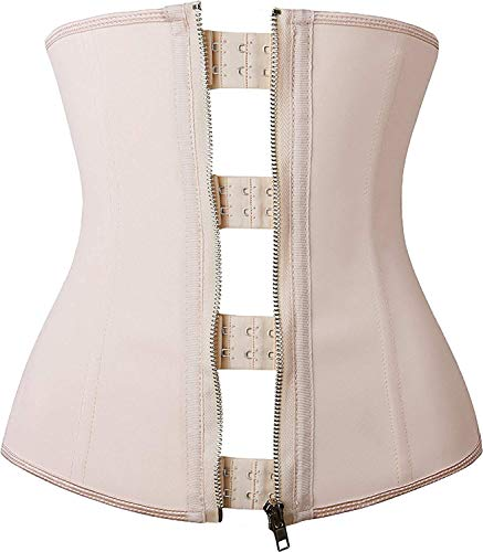 YIANNA Damen Latex Corsage Sport Korsett Unterbrust Bauch Weg Body Shaper Zipper und Hook Corsett Taille Trainer,UK-YA2219-Beige-3XL -