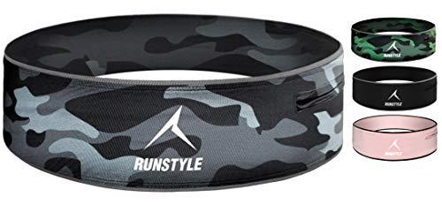 RUNSTYLE Sport Laufgürtel mit Reißverschluss, elastische Fitness Bauchtasche mit Wasserabweisender Innentasche alle Smartphones bis 6,5