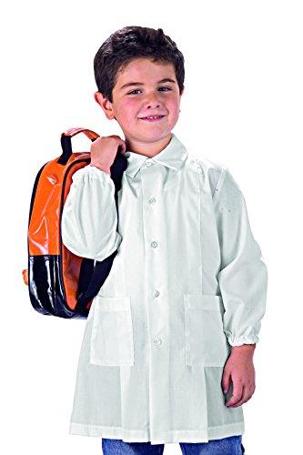 Grembiule pollicino isacco per asilo e scuola materna 3-6 anni (5 anni, bianco)