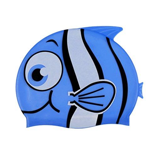 MagiDeal Kinder Badekappe Bademütze - Niedlicher Fisch - Schwimmkappe aus 100% Silikon Schwimmmütze in Verschiedenen Farben - Blau