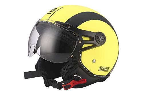Sparco Riders Casco Moto Demi Jet, Giallo Fluo Opaco, Taglia M