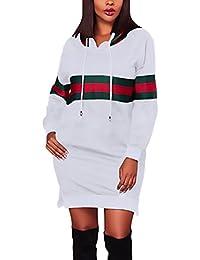 Donna Vestiti Corti Felpa Con Cappuccio Eleganti Manica Lunga A Strisce  Grazioso Moda Con Spacco Vestitini 9d6356f6c93