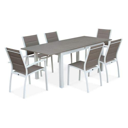 Salon de Jardin Table Extensible - Chicago 210 Taupe - Table en Aluminium 150/210cm avec rallonge et 6 assises en textilène