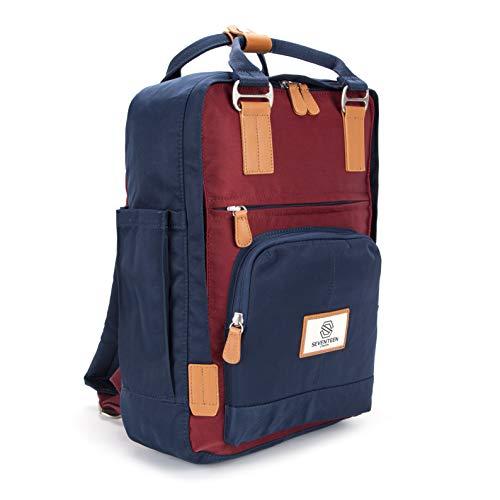 SEVENTEEN LONDON - Zaino 'Hackney' in blu marino e rosso/bordeaux nello stile di uno zainetto scandinavo - perfetto per un laptop da massimo 13'